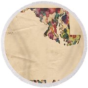 Maryland Map Vintage Watercolor Round Beach Towel