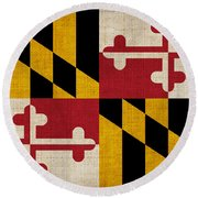Maryland State Flag Round Beach Towel by Pixel Chimp