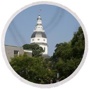 Maryland State House Cupola Round Beach Towel