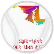 Maryland State Map Collection 2 Round Beach Towel