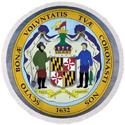 Maryland State Seal Round Beach Towel