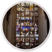 Mary's Deathbed Religious Art In Oude Kerk Round Beach Towel