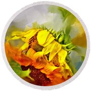 Marys Garden Round Beach Towel