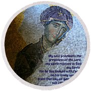 Mary's Magnificat Round Beach Towel