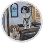 Mascots Of The Inn Round Beach Towel by Donna Tuten