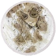Mask Brown Water Sketch Round Beach Towel