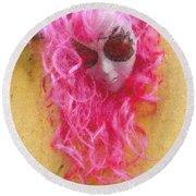 Mask Pastel Chalk 2 Round Beach Towel