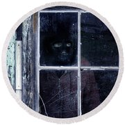 Masked Man Looking Out Window Round Beach Towel