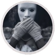 Masked Woman Round Beach Towel
