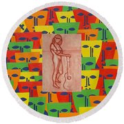 Masks 2 Round Beach Towel by Patrick J Murphy