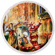 Masks Of Venice Round Beach Towel