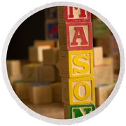 Mason - Alphabet Blocks Round Beach Towel
