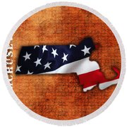 Massachusetts American Flag State Map Round Beach Towel