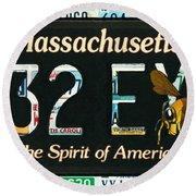 Massachusetts License Plate Round Beach Towel
