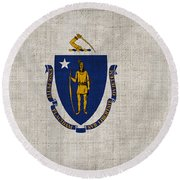 Massachusetts State Flag Round Beach Towel by Pixel Chimp