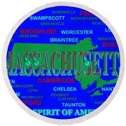 Massachusetts State Pride Map Silhouette  Round Beach Towel