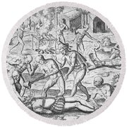 Massacre Of Christian Missionaries Round Beach Towel by Theodore De Bry