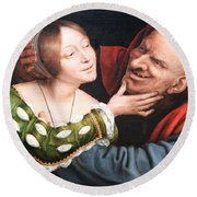 Massays' Ill Matched Lovers Or Badly Matched Lovers Round Beach Towel