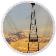 Massey Windmill Silhouette Round Beach Towel