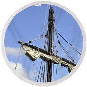 Mast And Rigging On A Replica Of The Christopher Columbus Ship P Round Beach Towel