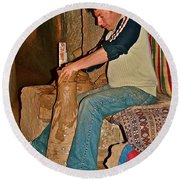 Master Potter At Work In Avanos-turkey Round Beach Towel by Ruth Hager