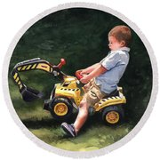 Mastering The Backhoe Round Beach Towel