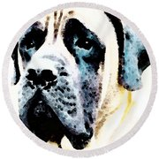 Mastif Dog Art - Misunderstood Round Beach Towel by Sharon Cummings