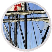 Masts And Rigging On A Replica Of The Christopher Columbus Ship  Round Beach Towel