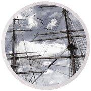 Masts Of Sailing Ships Round Beach Towel