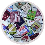 Matchbooks And Matchboxes Round Beach Towel
