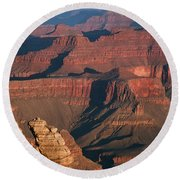 Mather Point At Sunrise On The Grand Canyon Round Beach Towel