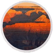 Mather Point Sunrise Grand Canyon National Park Round Beach Towel