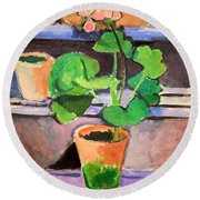 Matisse's Pot Of Geraniums Round Beach Towel