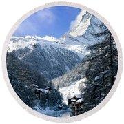 Matterhorn  Round Beach Towel by Brian Jannsen