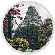 Matterhorn Mountain With Flowers At Disneyland Round Beach Towel