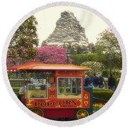 Matterhorn Mountain With Hot Popcorn At Disneyland 01 Round Beach Towel