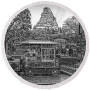 Matterhorn Mountain With Hot Popcorn At Disneyland Bw Round Beach Towel