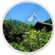 Matterhorn With Mountain Chalet Round Beach Towel