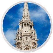 Matthias Church Bell Tower In Budapest Round Beach Towel