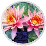 Maui Lotus Blossoms Round Beach Towel