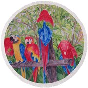 Maui Macaws Round Beach Towel