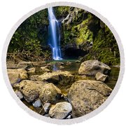 Maui Waterfall Round Beach Towel by Adam Romanowicz