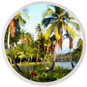 Mauna Lani Fish Ponds Round Beach Towel
