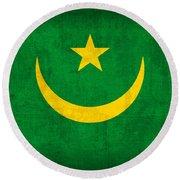 Mauritania Flag Vintage Distressed Finish Round Beach Towel
