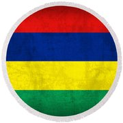 Mauritius Flag Vintage Distressed Finish Round Beach Towel