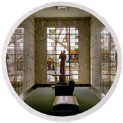 Mausoleum Stained Glass 04 Round Beach Towel