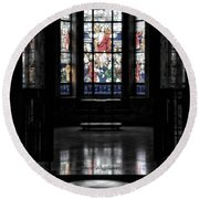 Mausoleum Stained Glass 05 Round Beach Towel
