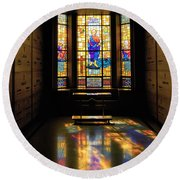 Mausoleum Stained Glass 06 Round Beach Towel