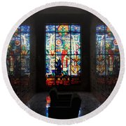 Mausoleum Stained Glass 07 Round Beach Towel