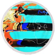 Max Stars And Stripes In Inverted Colors Round Beach Towel